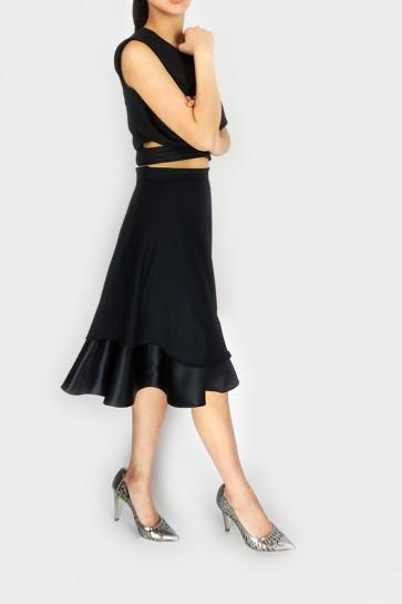 Black Dreams Flare Midi Skirt
