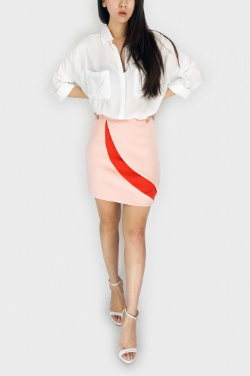 Double Take Split Side Skirt - Peach