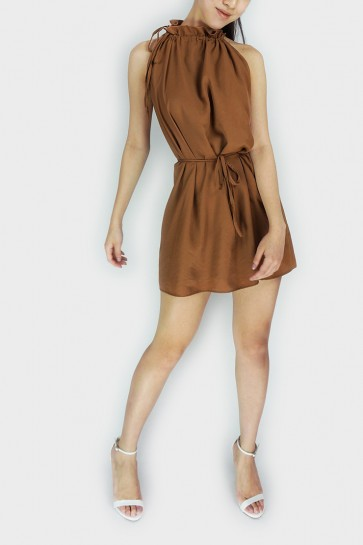 Abela Halterneck Swing Dress - Brown