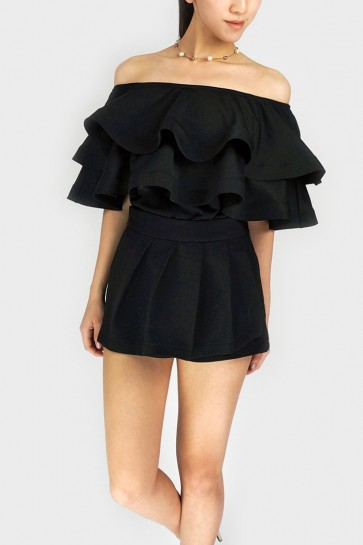 Turn Me On 3-Way Ruffle Top - Black
