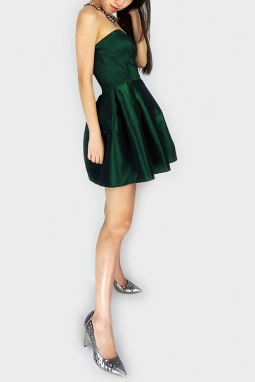 Desire Me Bandeau Pleated Dress - Dark Green