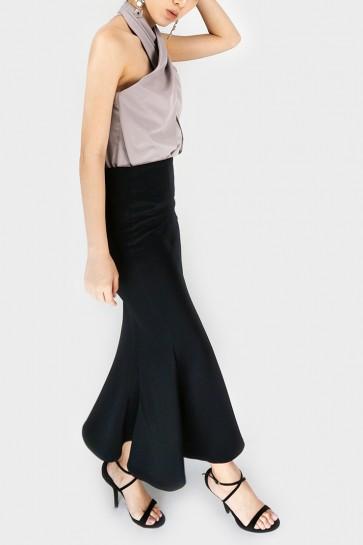 Full Time Fishtail Maxi Skirt - Black