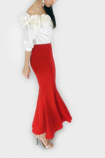 Full Time Fishtail Maxi Skirt - Red
