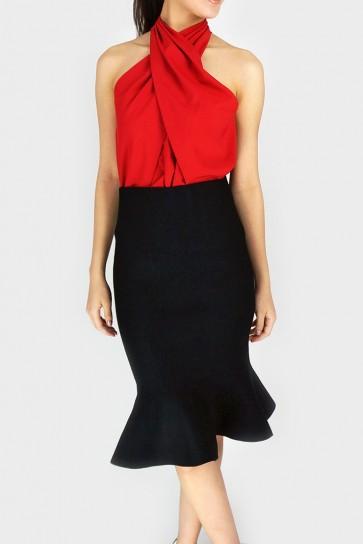 Meet Me Halfway Peplum Hem Midi Skirt