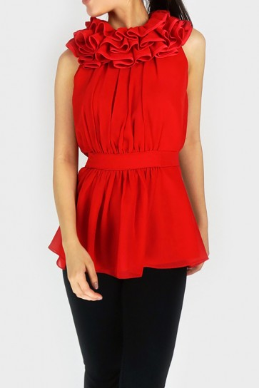 Enigma Ruffle Collar Top - Red