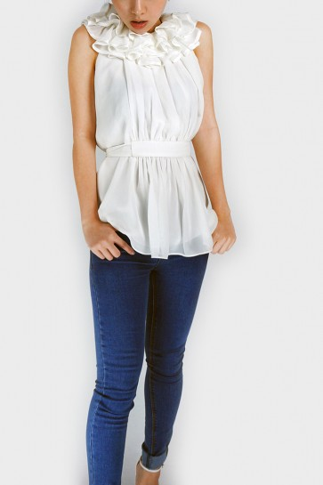 Enigma Ruffle Collar Top – White