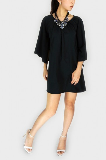 Kate Kimono Sleeved Dress - Black