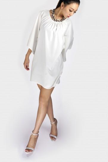 Kate Kimono Sleeved Dress - White