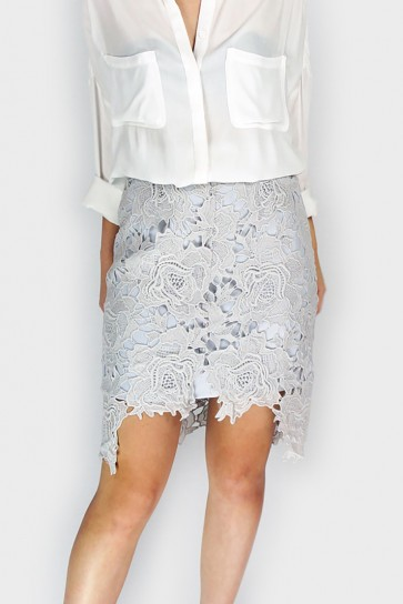 Lace In Bloom Pencil Skirt - Silver Grey