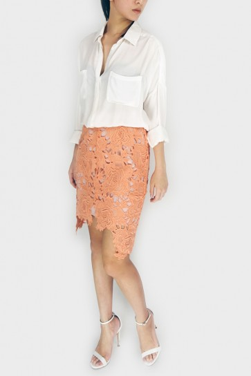 Lace In Bloom Pencil Skirt - Peach