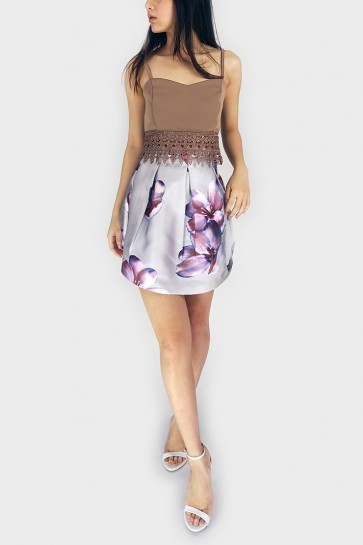 Liz Floral Balloon Skirt - Silver Grey