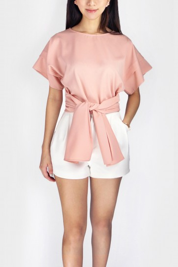 Gina Flared Sleeve Bow Front Blouse - Dusty Pink