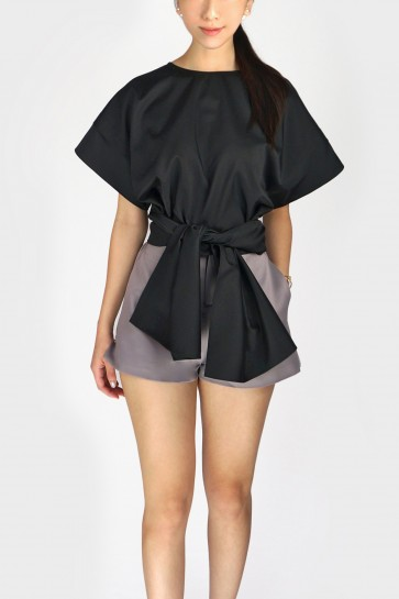 Gina Flared Sleeve Bow Front Blouse - Black