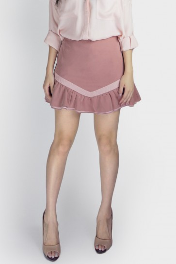 Lindsey Layered Ruffle Skort - Dusty Pink