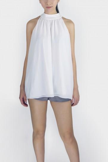 Rena Halterneck Tie Top - White