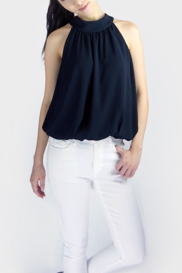 Rena Halterneck Tie Top - Black