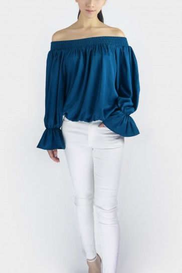 Take A Bow Off The Shoulder Blouse - Teal