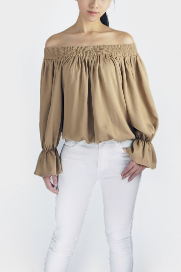 Take A Bow Off The Shoulder Blouse - Beige