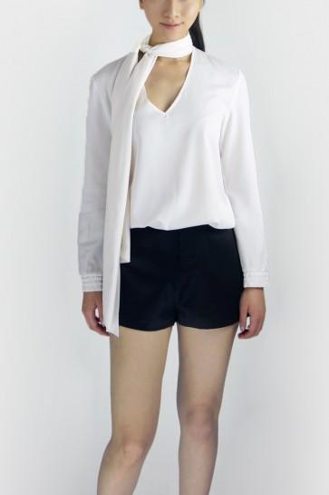 Eldora Tie-Neck Blouse - White