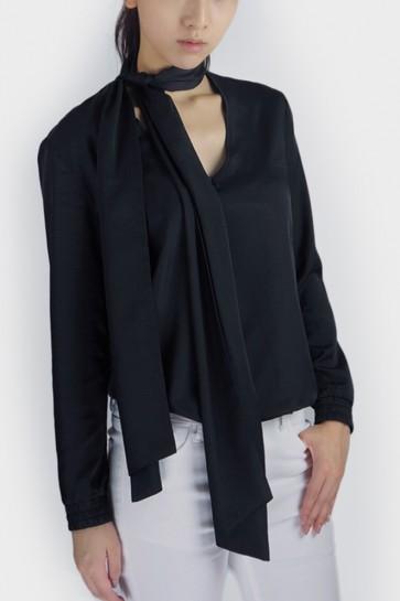 Eldora Tie-Neck Blouse - Black
