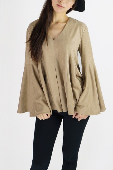 Juliet V Neck Faux Suede Bell Sleeved Top - Toffee