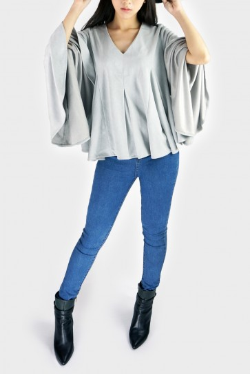 Juliet V Neck Faux Suede Bell Sleeved Top - Grey