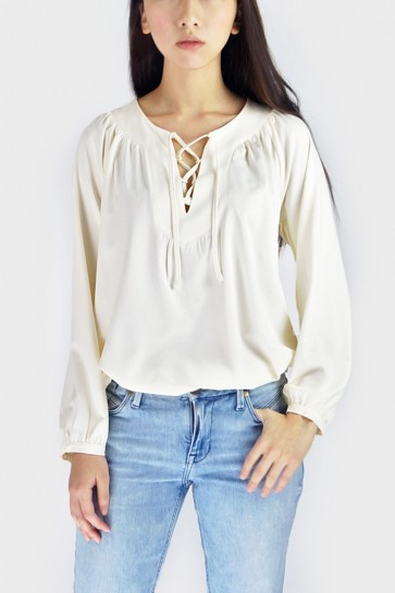 Tasha Lace-Up Blouse - Beige