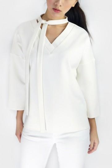 Vanda Tie-Neck Top - White