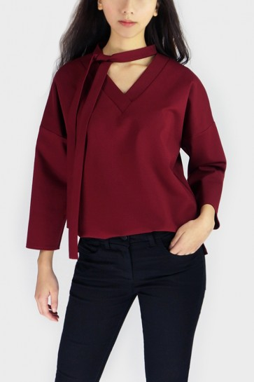 Vanda Tie-Neck Top - Wine Red