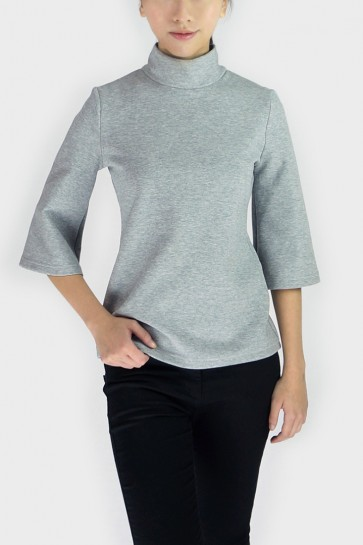 Whitney Turtleneck Top - Light Grey