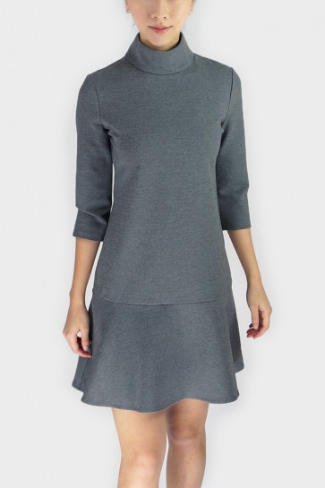 Whitney Turtleneck Flounce Hem Dress - Dark Grey