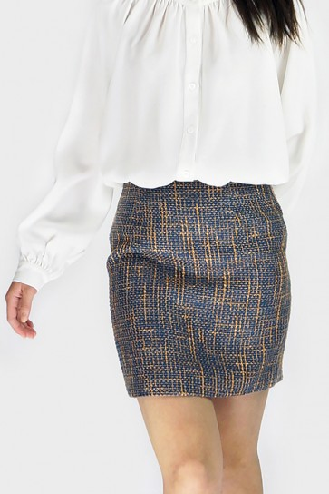 Rosie Textured Skirt - Navy