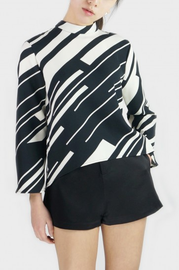 Josh High-Necked Geometric Top