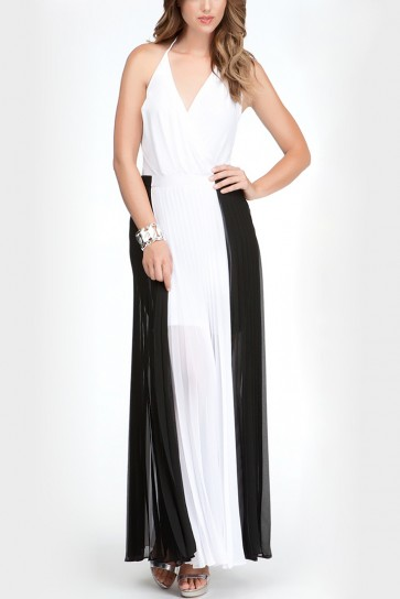 Monica Two-Tone Pleated Maxi Skirt