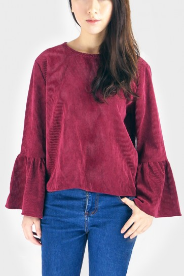 Bell Sleeved Corduroy Top - Berry Red