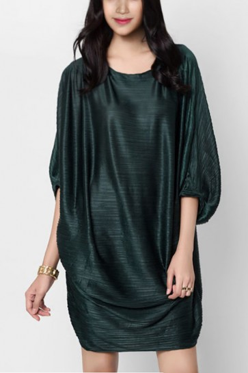 Darby Pleated Drape Dress - Dark Green