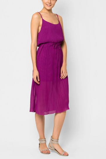 Libby Pleated Midi Dress - Magenta