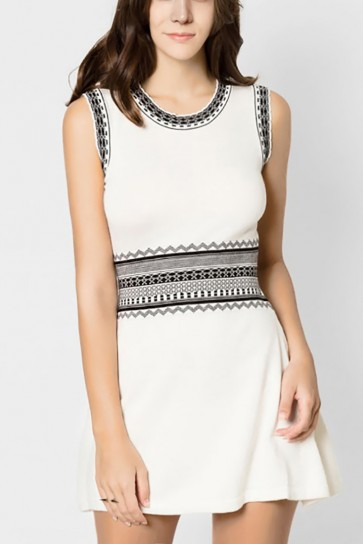 Nena Aztec Knitted Dress - White
