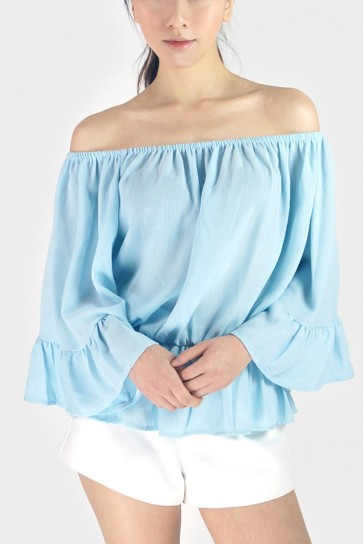 Off The Shoulder Chiffon Top - Blue