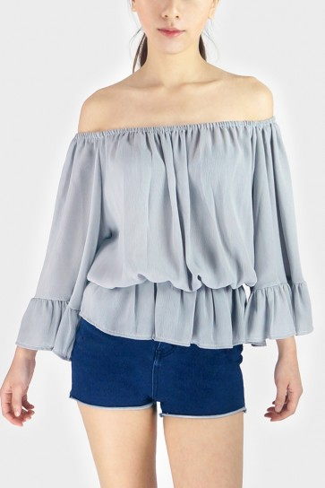 Off The Shoulder Chiffon Top - Grey