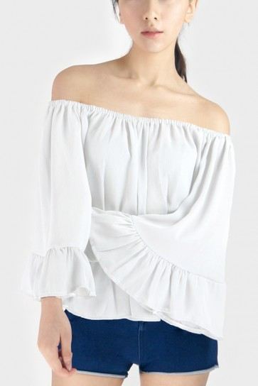Off The Shoulder Chiffon Top - White