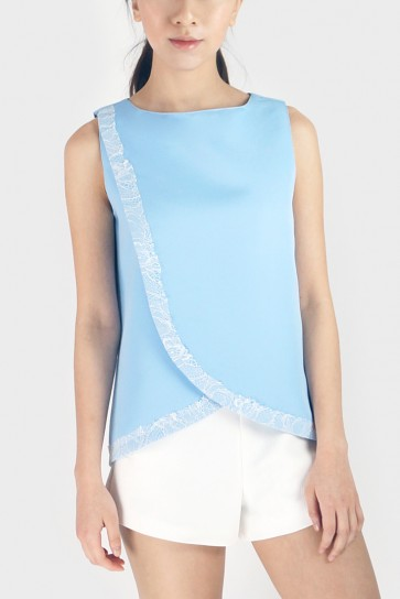 Lace Trim Wrap Front Top -Pastel Blue