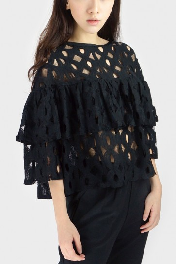 Ruffled Lace Top - Black
