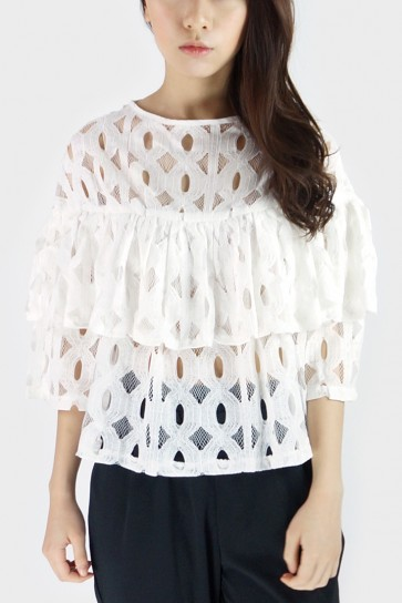 Ruffled Lace Top - White