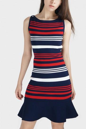 Stripe Knit Flared Dress