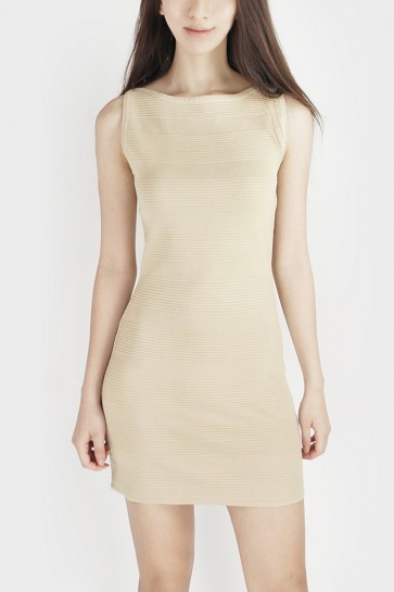 Knitted Bodycon Dress - Beige
