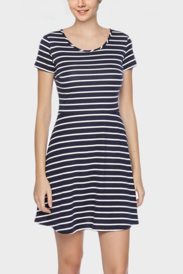 Striped Bow Back Skater Dress