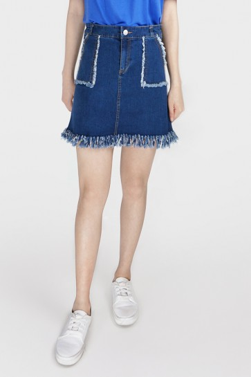 Pocket Denim Frayed Skirt