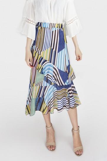 Stripe Pleated Ruffle Maxi Skirt