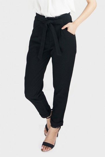 Belted High Waist Tapered Pants - Black